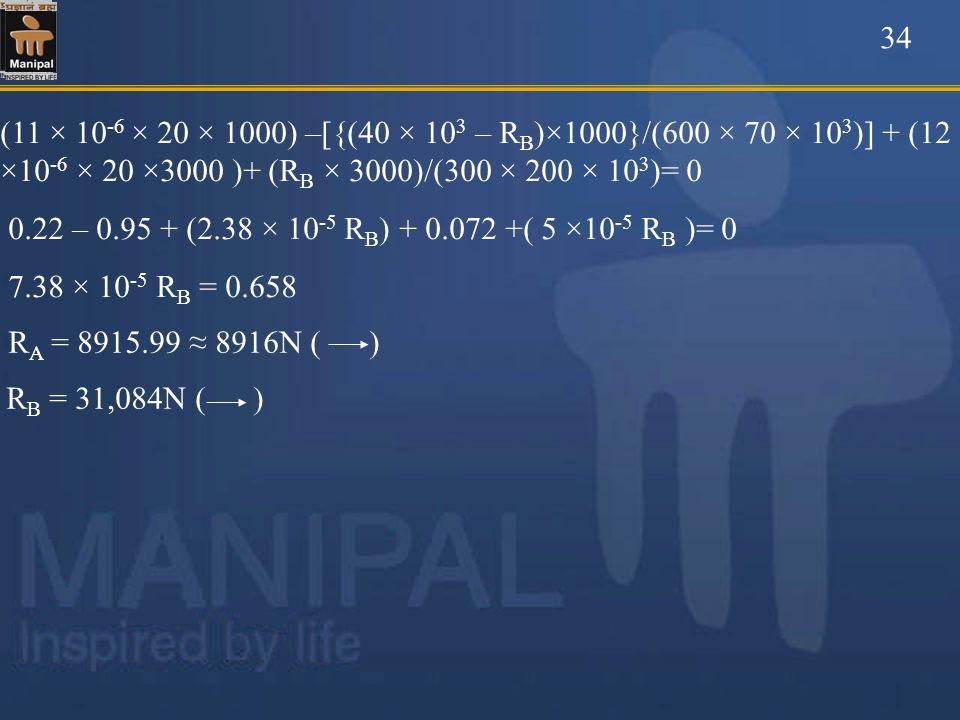 34 (11 × 10-6 × 20 × 1000) –[{(40 × 103 – RB)×1000}/(600 × 70 × 103)] + (12 ×10-6 × 20 ×3000 )+ (RB × 3000)/(300 × 200 × 103)= 0.